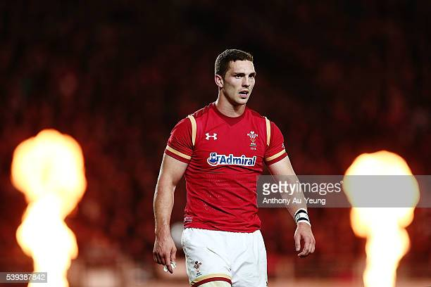 George North of Wales looks on during the International Test match between the New Zealand All Blacks and Wales at Eden Park on June 11 2016 in...