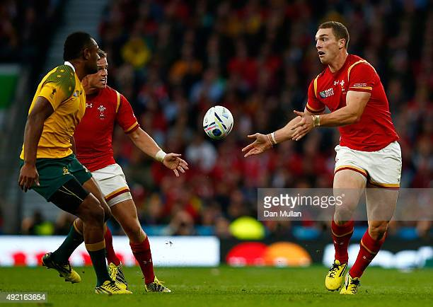 George North of Wales passes to Gareth Anscombe of Wales during the 2015 Rugby World Cup Pool A match between Australia and Wales at Twickenham...