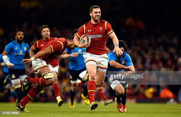 George North of Wales races away to score during the RBS Six Nations match between Wales and Italy at the Principality Stadium on March 19 2016 in...