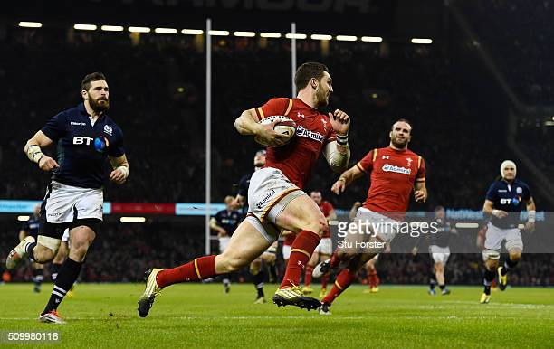 George North of Wales scores his team's third try following a magnificent solo run during the RBS Six Nations match between Wales and Scotland at the...