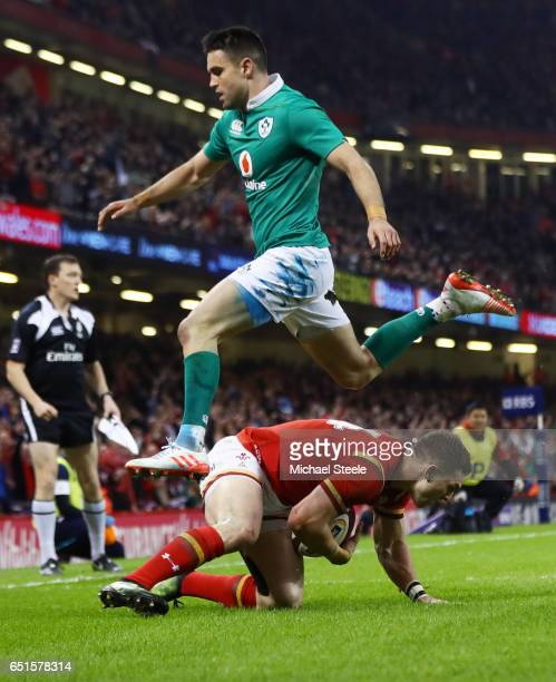 George North of Wales scores their second try during the Six Nations match between Wales and Ireland at the Principality Stadium on March 10 2017 in...