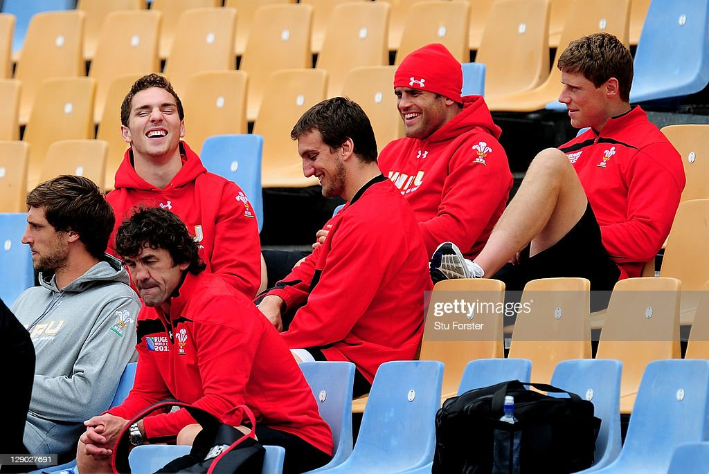George North, Sam Warburton, Jamie Roberts and Rhys Priestland share a joke during a Wales IRB Rugby World Cup 2011 training session at Mt Smart Stadium on October 11, 2011 in Auckland, New Zealand.