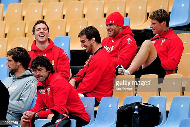 George North Sam Warburton Jamie Roberts and Rhys Priestland share a joke during a Wales IRB Rugby World Cup 2011 training session at Mt Smart...