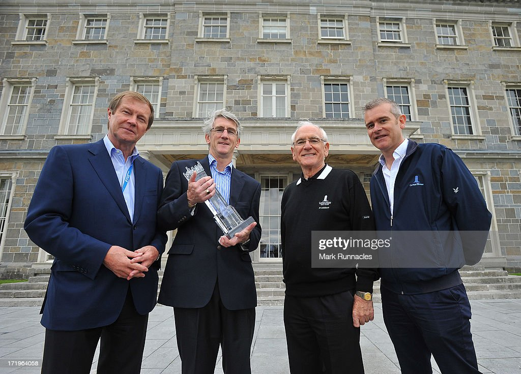 George O'Grady, Chief Executive of the European Tour, Gerry O'Keefe, Sales Manager Sport & Corporate of Waterford Crystal, Lee Mallaghan, Owner & President Carton House and Conor Mallaghan, Owner & Managing Partner of Carton House during the Fourth Round of the Irish Open at Carton House Golf Club on June 30, 2013 in Maynooth, Ireland.
