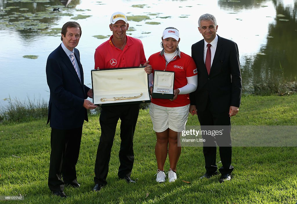 George O'Grady, Chief Executive of the European Tour, Marcel Siem of Germany, Ariya Jutanugarn of Thailand and Peter Khodabakhsh, Director of the Ladies European Tour pose for a picture after the Trophee du Hassan II Golf at Golf du Palais Royal on March 31, 2013 in Agadir, Morocco.