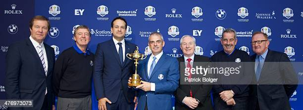 George O'Grady European Tour Chief Executive Des Smyth European Ryder Cup ViceCaptain Leo Varadkar Minister for Transport Tourism and Sport Paul...