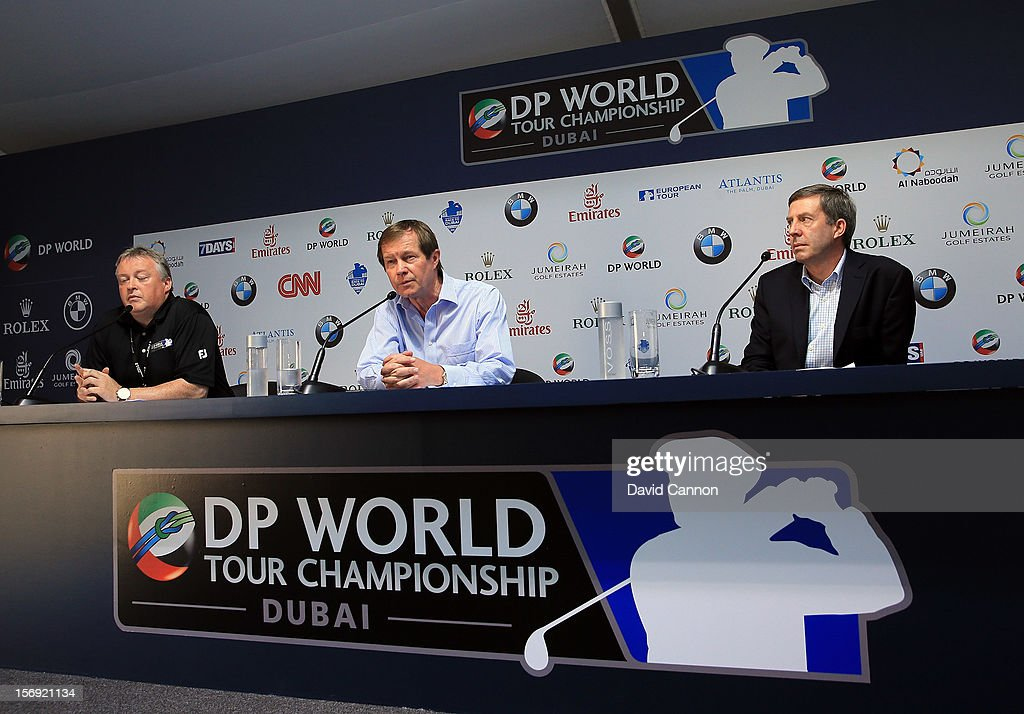 George O'Grady (centre) The Chief Executive of The European Tour, Keith Waters (right) the Chief Operating Officer of the European Tour and Scott Crockett The Chief Press Officer of the European Tour at the press conference to announce the 2013 European Tour International Schedule during the final round of the 2012 DP World Tour Championship on the Earth Course at Jumeirah Golf Estates on November 25, 2012 in Dubai, United Arab Emirates.