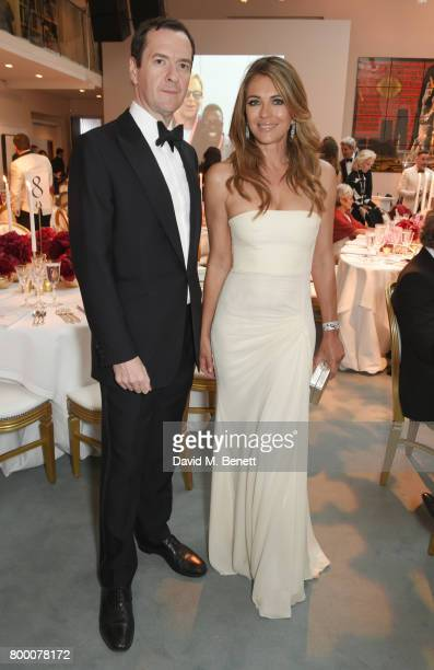 George Osborne and Elizabeth Hurley attend the Woodside Gallery Dinner in benefit of Elton John AIDS Foundation in partnership with BVLGARI at...