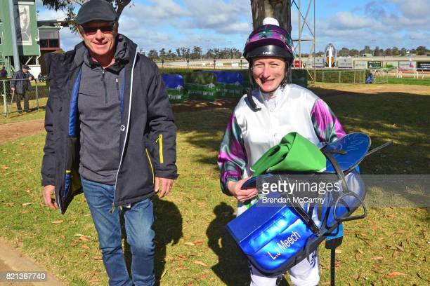 George Osborne and Linda Meech after winning the Manang Cup 14th October 2017 2YO Maiden Plate at Swan Hill Racecourse on July 24 2017 in Swan Hill...
