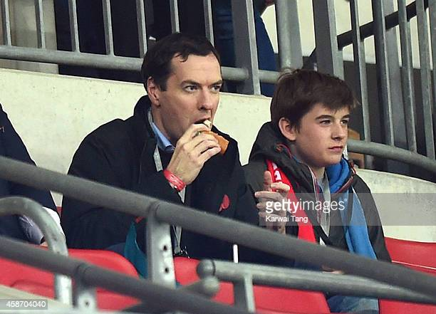 George Osborne attends as the Dallas Cowboys play the Jacksonville Jaguars in an NFL match at Wembley Stadium on November 9 2014 in London England