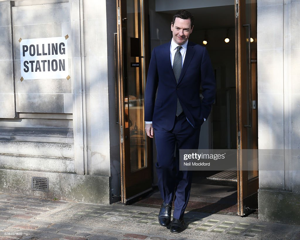 George Osborne casts his vote in the London Mayoral Election on May 05, 2016 in London, England. This is the fifth mayoral election since the position was created in 2000. Previous London Mayors are Ken Livingstone for Labour and more recently Boris Johnson for the Conservatives. The main candidates for 2016 are Sadiq Khan, Labour, Zac Goldsmith , Conservative, Sian Berry, Green, Caroline Pidgeon, Liberal Democrat, George Galloway, Respect, Peter Whittle, UKIP and Sophie Walker, Woman's Equality Party. Results will be declared on Friday 6th May.