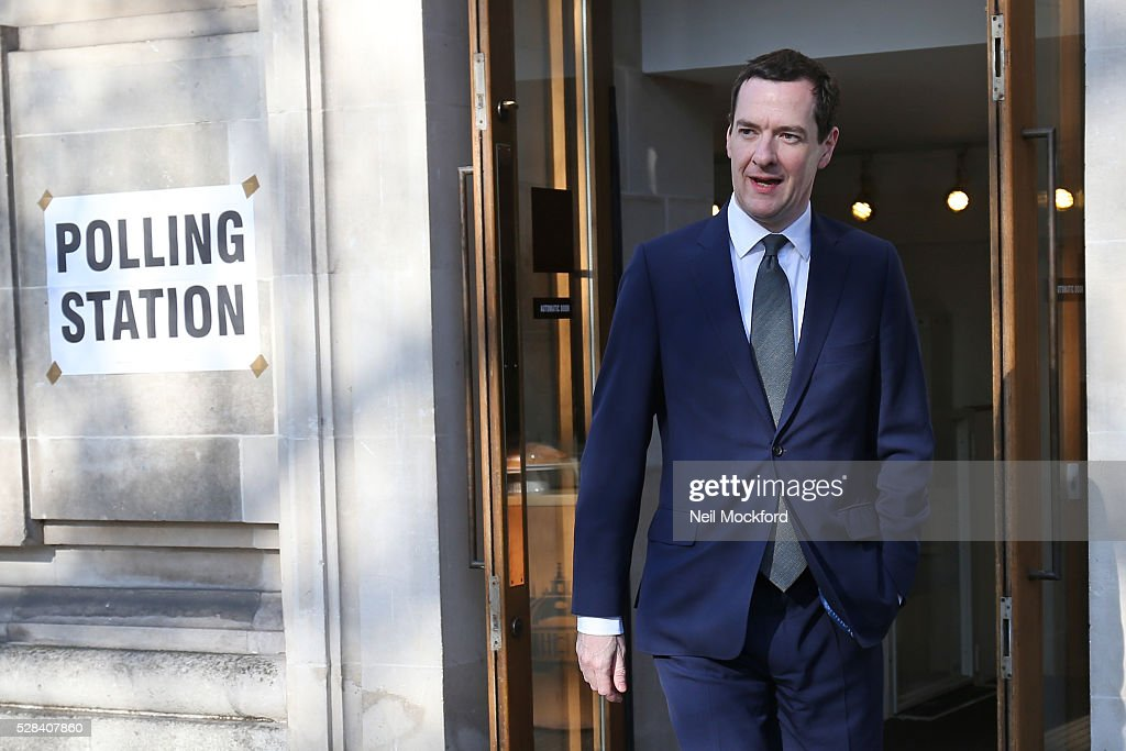 <a gi-track='captionPersonalityLinkClicked' href=/galleries/search?phrase=George+Osborne&family=editorial&specificpeople=5544226 ng-click='$event.stopPropagation()'>George Osborne</a> casts his vote in the London Mayoral Election on May 05, 2016 in London, England. This is the fifth mayoral election since the position was created in 2000. Previous London Mayors are Ken Livingstone for Labour and more recently Boris Johnson for the Conservatives. The main candidates for 2016 are Sadiq Khan, Labour, Zac Goldsmith , Conservative, Sian Berry, Green, Caroline Pidgeon, Liberal Democrat, George Galloway, Respect, Peter Whittle, UKIP and Sophie Walker, Woman's Equality Party. Results will be declared on Friday 6th May.