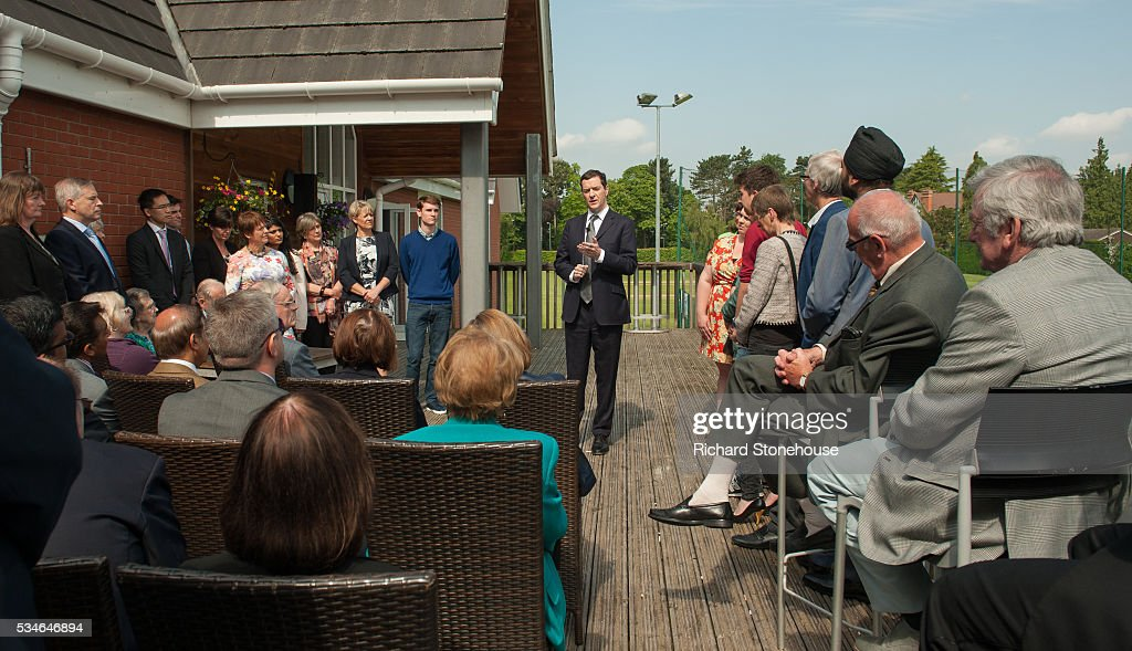 George Osborne, The Chancellor of the Exchequer speaks to residents of the West Midlands at The West Warwickshire Sports Club on May 27, 2016 in Solihull, England. The Chancellor warned of the negative impact to pensions citing analysis from the Treasury suggesting if the UK was to vote to leave the EU in the upcoming Referendum then £300 billion could be wiped off the over-65s pension pots.