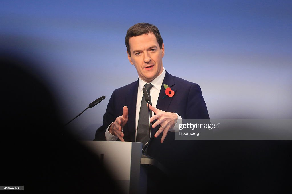George Osborne UK chancellor of the exchequer gestures as he addresses Germany's BDI industry lobby group in Berlin Germany on Tuesday Nov 3 2015...