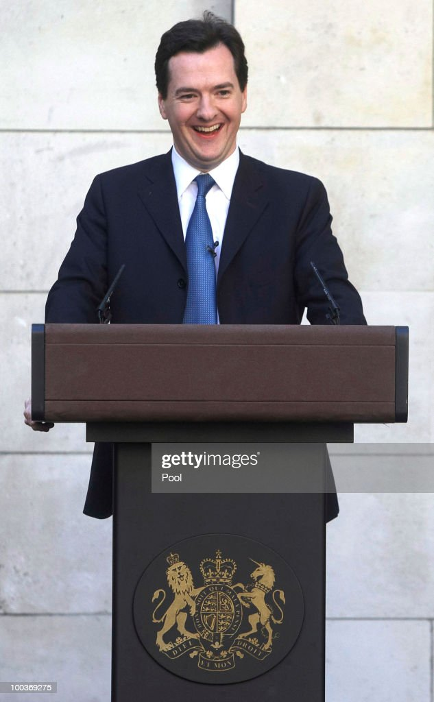 George Osborne, U.K. chancellor of the exchequer, gestures during a press conference at H.M.Treasury on May 24, 2010 in London, England. British Prime Minister David Cameron's two-week old coalition is taking its first steps to curb a record peacetime budget deficit today by announcing 6 billion pounds ($8.7 billion) of spending cuts.