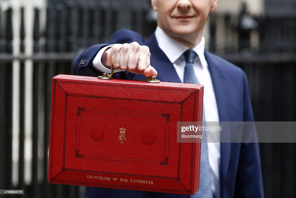 George Osborne UK chancellor of the exchequer holds the dispatch box containing the first budget by a Torymajority government in almost two decades...
