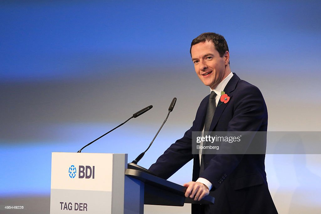 George Osborne UK chancellor of the exchequer speaks as he addresses Germany's BDI industry lobby group in Berlin Germany on Tuesday Nov 3 2015...