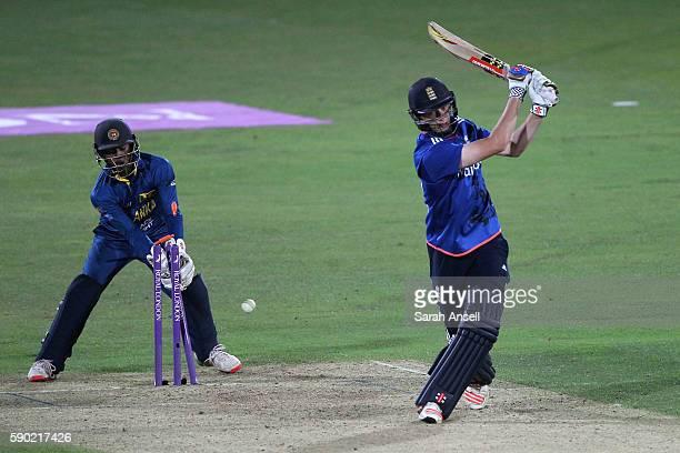 George Panayi of England U19 is bowled by Wanidu Hasaranga of Sri Lanka U19 as wicket keeper Navindu Vithanage looks on during the Royal London...