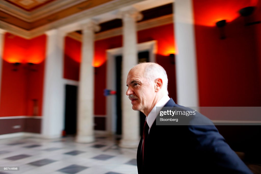 George Papandreou, Greece's prime minister, arrives for a press conference in Athens, Greece, on Wednesday, Jan. 13, 2010. Greece will not leave the euro or seek aid from the International Monetary Fund to reduce the European Union�s biggest budget deficit, Papandreou said. Photographer: Kostas Tsironis/Bloomberg via Getty Images