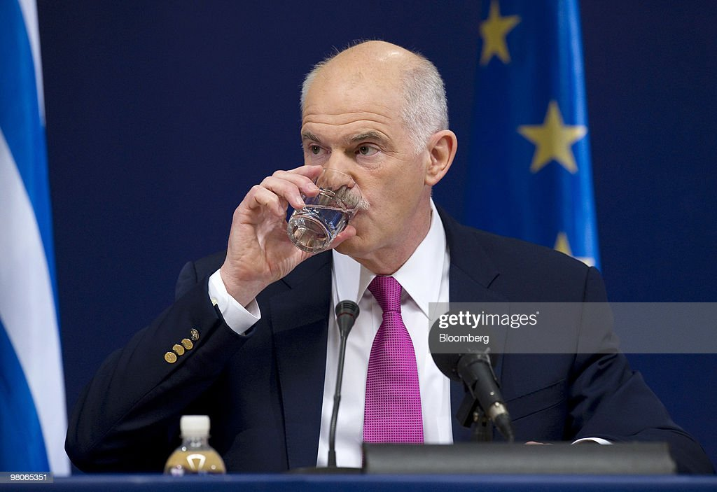 George Papandreou, Greece's prime minister, pauses during a press conference following the European Union Summit in Brussels, Belgium, on Friday, March 26, 2010. French President Nicolas Sarkozy capped a week of reversals with his acceptance of German demands on a contingency plan to aid Greece. Photographer: Jock Fistick/Bloomberg via Getty Images