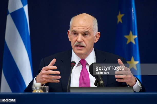 George Papandreou Greece's prime minister speaks at a press conference following the European Union Summit in Brussels Belgium on Friday March 26...