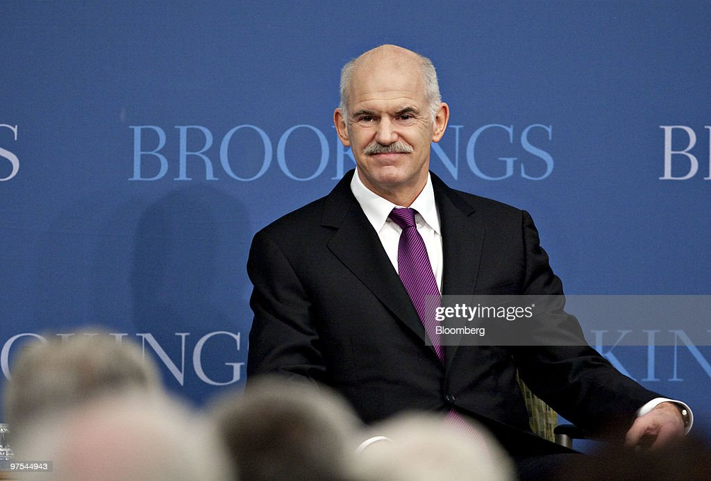 George Papandreou, prime minister of Greece, arrives to speak at the Brookings Institution in Washington, D.C., U.S., on Monday, March 8, 2010. Papandreou said his country's fiscal crisis could spread beyond Europe 'unless unprincipled speculators' and 'ill-regulated' financial markets are reined in. Photographer: Andrew Harrer/Bloomberg via Getty Images