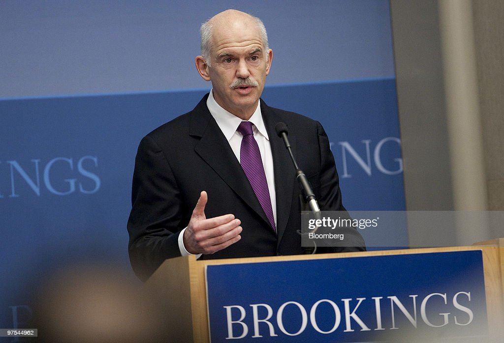 George Papandreou, prime minister of Greece, speaks at the Brookings Institution in Washington, D.C., U.S., on Monday, March 8, 2010. Papandreou said his country's fiscal crisis could spread beyond Europe 'unless unprincipled speculators' and 'ill-regulated' financial markets are reined in. Photographer: Andrew Harrer/Bloomberg via Getty Images