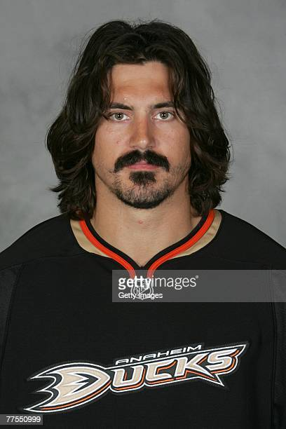George Parros of the Anaheim Ducks poses for his 2007 NHL headshot at photo day in Anaheim California