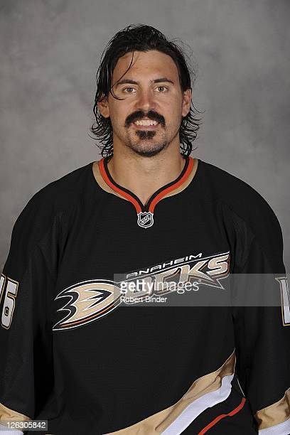 George Parros of the Anaheim Ducks poses for his official headshot for the 20112012 on September 16 2011 at Honda Center in Anaheim California