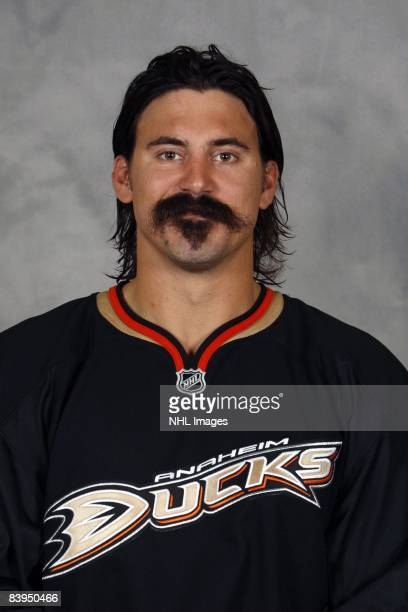 George Parros of the Anaheim Ducks poses for his official headshot for the 20082009 NHL season