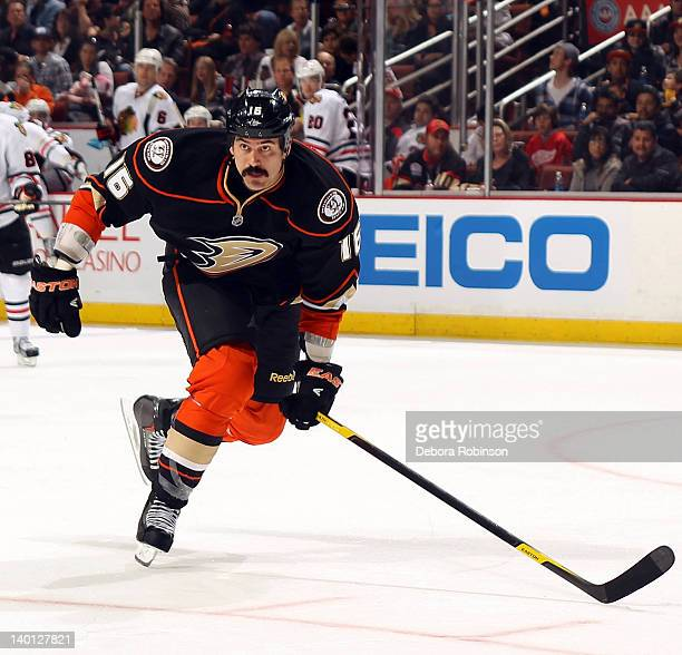 George Parros of the Anaheim Ducks skates against the Chicago Blackhawks during the game on February 26 2012 at Honda Center in Anaheim California