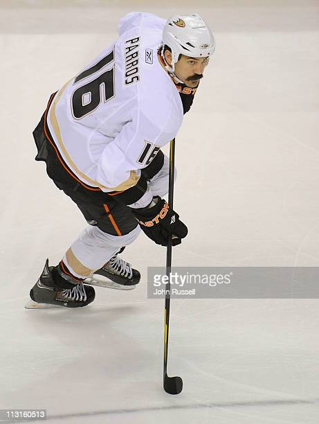 George Parros of the Anaheim Ducks skates against the Nashville Predators in Game Four of the Western Conference Quarterfinals during the 2011 NHL...
