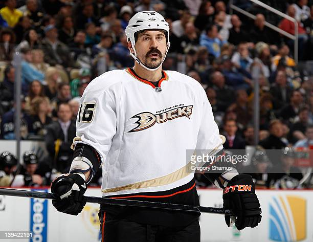 George Parros of the Anaheim Ducks skates against the Pittsburgh Penguins on February 15 2012 at Consol Energy Center in Pittsburgh Pennsylvania
