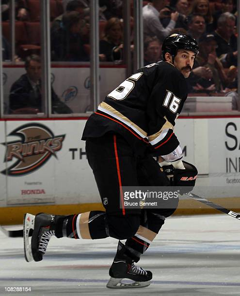 George Parros of the Anaheim Ducks skates against the St Louis Blues at the Honda Center on January 12 2011 in Anaheim California