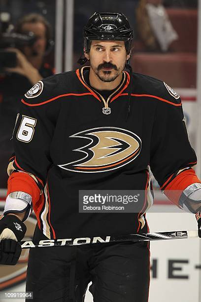 George Parros of the Anaheim Ducks skates on the ice before the game against the New York Rangers on March 9 2011 at Honda Center in Anaheim...