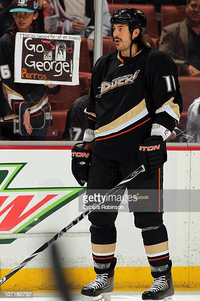 George Parros of the Anaheim Ducks skates on the ice during warm ups prior to the game against the Columbus Blue Jackets during the game on November...