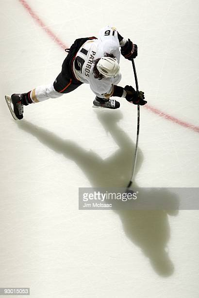 George Parros of the Anaheim Ducks warms up before playing against the New Jersey Devils at the Prudential Center on November 11 2009 in Newark New...