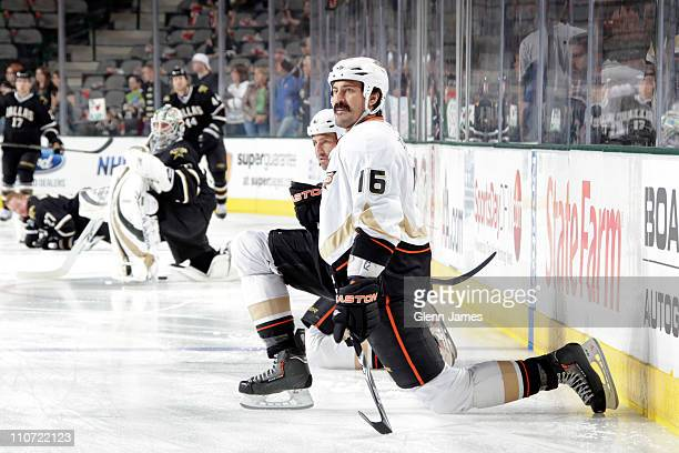 George Parros of the Anaheim Ducks warms up before the game against the Dallas Stars at the American Airlines Center on March 23 2011 in Dallas Texas