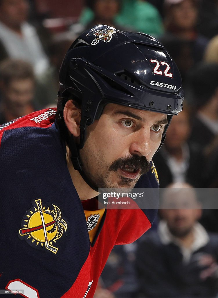 George Parros #22 of the Florida Panthers prepares for a face off against the Toronto Maple Leafs at the BB&T Center on February 18, 2013 in Sunrise, Florida. The Maple Leafs defeated the Panthers 3-0.