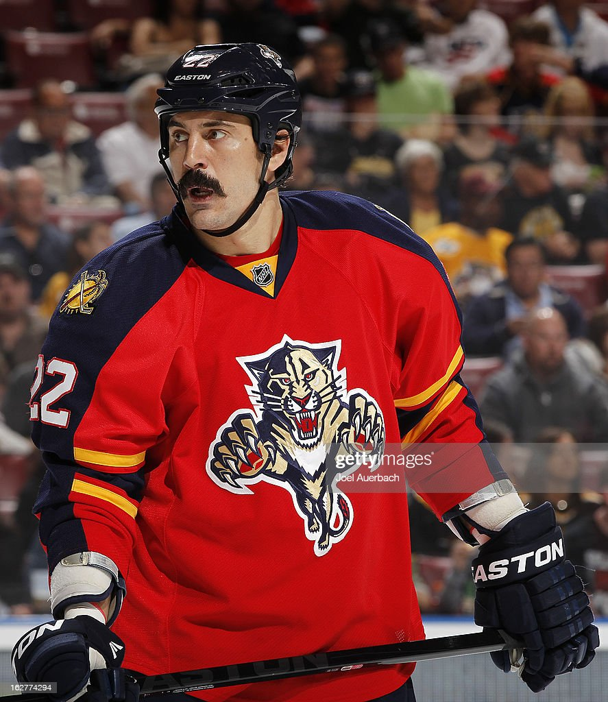 George Parros #22 of the Florida Panthers prepares for a face off against the Boston Bruins at the BB&T Center on February 24, 2013 in Sunrise, Florida. The Bruins defeated the Panthers 4-1.