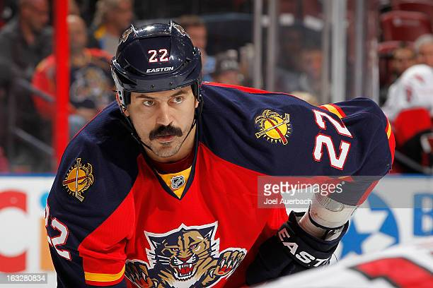 George Parros of the Florida Panthers prepares for a face off against the Carolina Hurricanes at the BBT Center on March 3 2013 in Sunrise Florida...