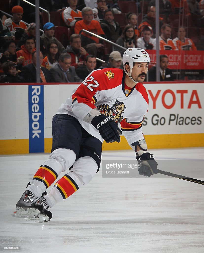 George Parros #22 of the Florida Panthers skates against the Philadelphia Flyers at the Wells Fargo Center on February 21, 2013 in Philadelphia, Pennsylvania.