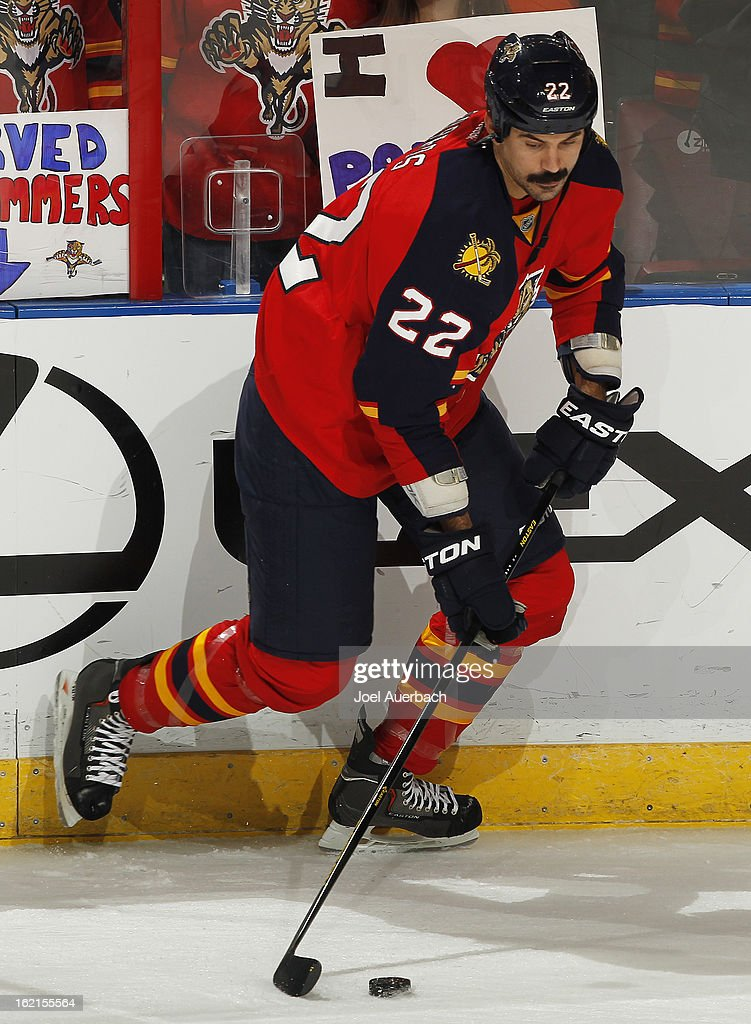 George Parros #22 of the Florida Panthers skates prior to the game against the Toronto Maple Leafs at the BB&T Center on February 18, 2013 in Sunrise, Florida. The Maple Leafs defeated the Panthers 3-0.