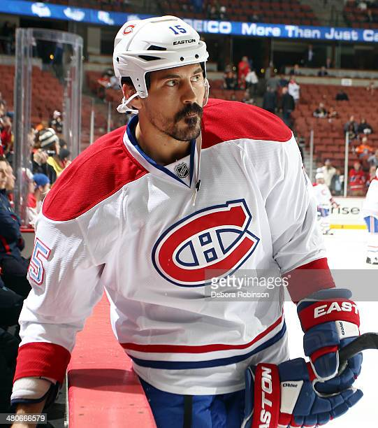 George Parros of the Montreal Canadiens looks on during warm ups before the game against the Anaheim Ducks on March 5 2014 at Honda Center in Anaheim...