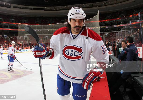 George Parros of the Montreal Canadiens looks on during warmups prior to his game against the Philadelphia Flyers on December 12 2013 at the Wells...