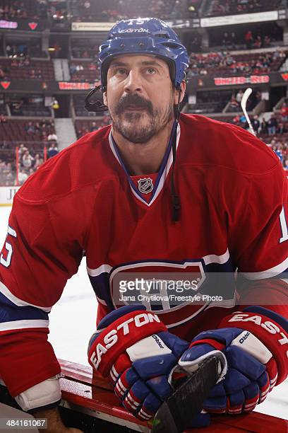 George Parros of the Montreal Canadiens looks on during warmups prior to an NHL game against the Ottawa Senators at Canadian Tire Centre on April 4...