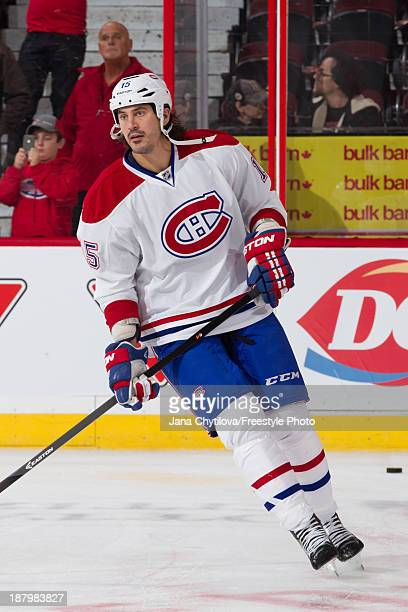 George Parros of the Montreal Canadiens skates during warmups prior to an NHL game against the Ottawa Senators at Canadian Tire Centre on November 7...
