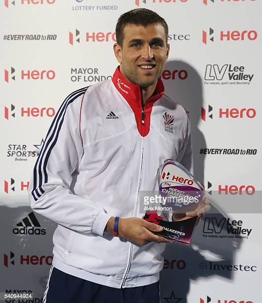 George Pinner of England with his Goalkeeper Of The Tournament award during the FIH Mens Hero Hockey Champions Trophy 1st2nd place match between...