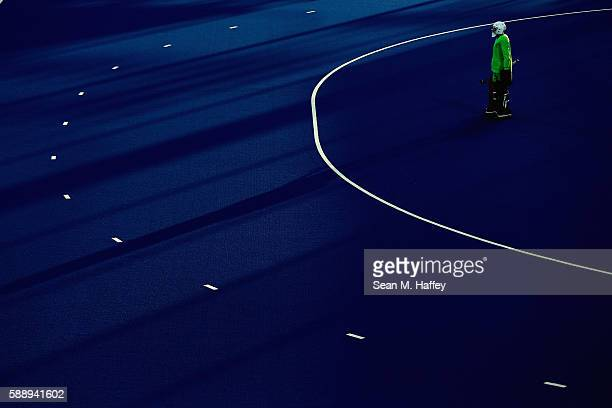 George Pinner of Great Britain tends goal against Spain during a Men's Preliminary Pool B match on Day 7 of the Rio 2016 Olympic Games at the Olympic...