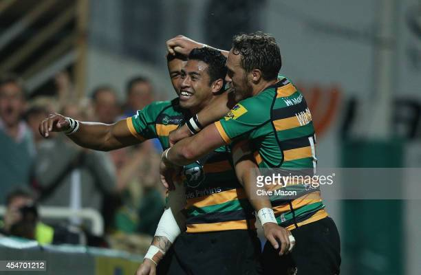 George Pisi of Northampton celebrates his try during the Aviva Premiership match between Northampton Saints and Gloucester Rugby at Franklin's...